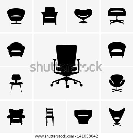 Modern chairs - stock vector