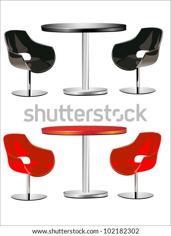 modern  chairs and table on the white background - stock vector