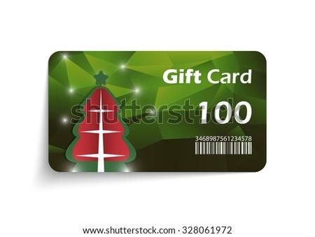Modern christmas gift card template - vector format - stock vector