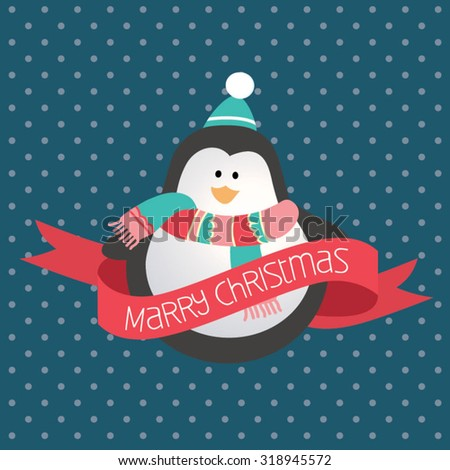 Modern Christmas greeting card. Cute penguin on blue background - stock vector