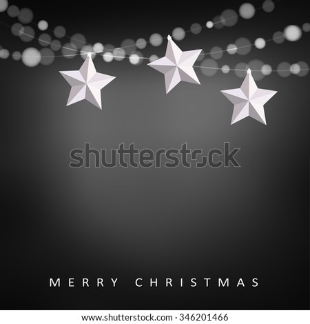 Modern christmas greeting card with garland of lights and folded paper stars, vector illustration background