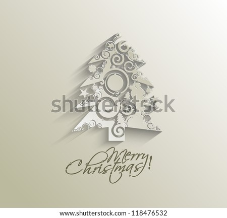 Modern christmas tree background, vector illustration - stock vector
