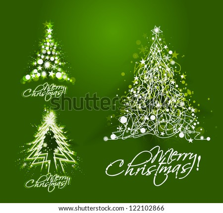 Modern christmas tree illustration design, - stock vector