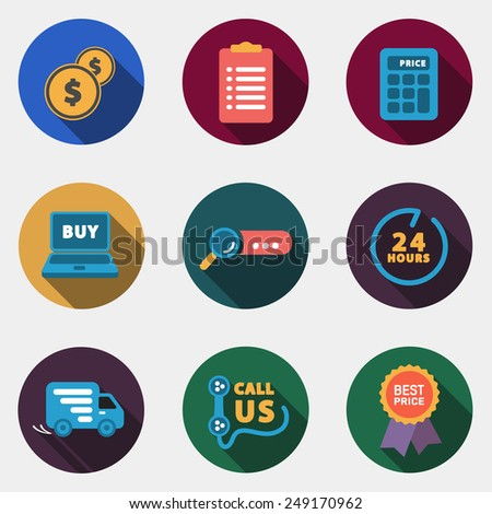Modern circle colorful shop icons with shadow - stock vector