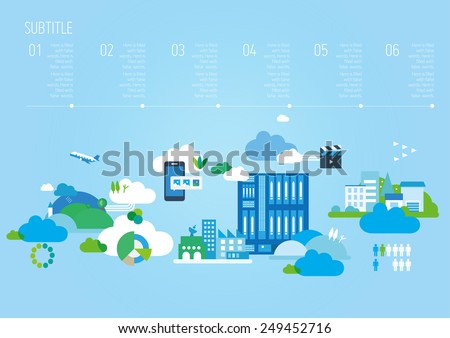Modern City Background Illustration, Vector Info Graphic, Eps 10, City and Buildings, layout Template 02 - stock vector