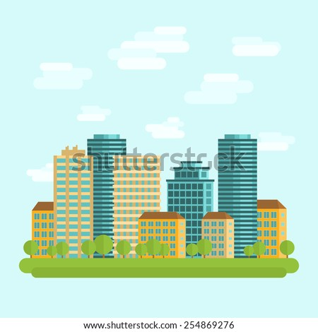 Modern city downtown green centre with tall buildings day skyline and clouds sketch abstract flat vector illustration - stock vector