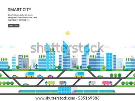 Modern city illustration in flat style.