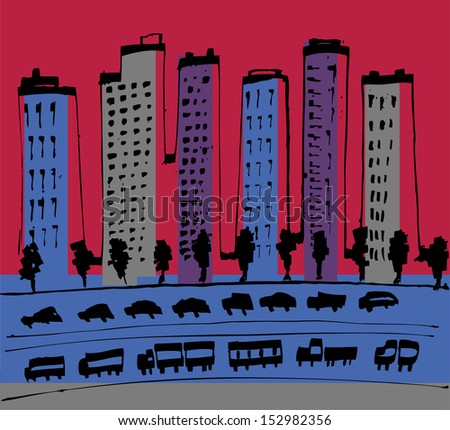 Modern City in red colors - stock vector