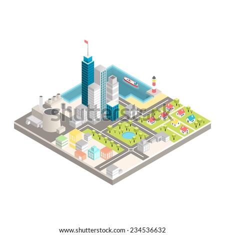 Modern city isometric vector illustration - stock vector