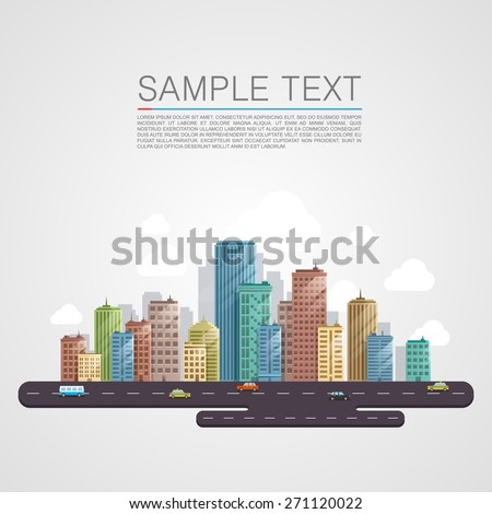 Modern city landscape background. Beautiful vector background. City flat art. - stock vector