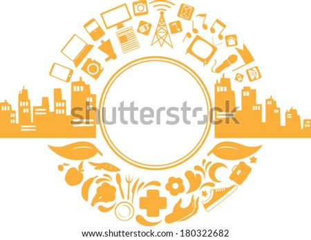 Modern City Life Silhouette - stock vector