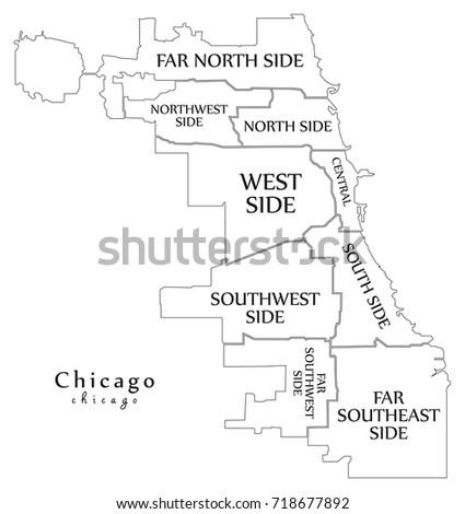 Modern City Map Chicago City USA Stock Photo Photo Vector