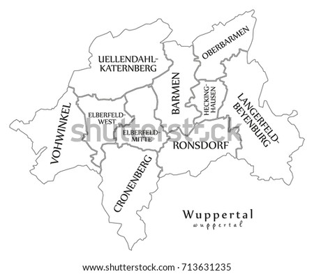Modern City Map Wuppertal City Germany Stock Vector 713631235