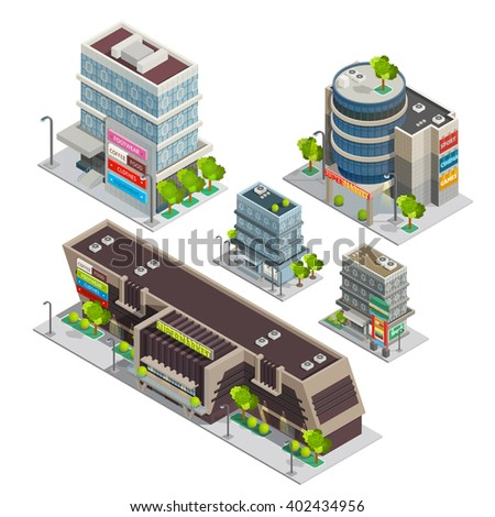 Modern city shopping center complex isometric composition with supermarket and department store buildings abstract vector illustration - stock vector