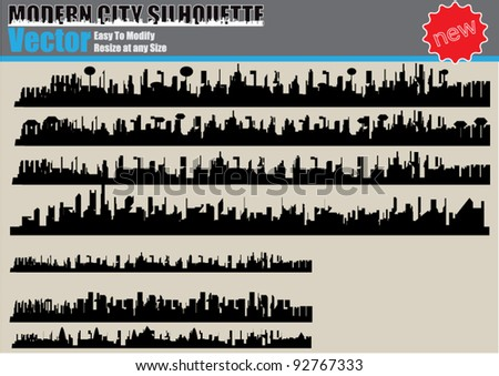 Modern City Silhouette Set - stock vector
