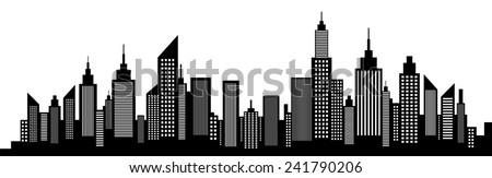 Modern City Skyline Silhouette On White - stock vector