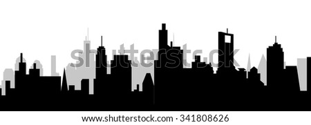 Modern City Skyline Silhouette - Vector