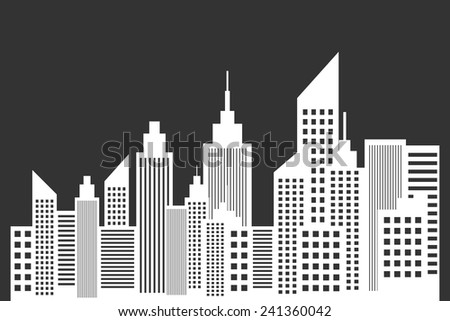 Modern City Skyline With Skyscrapers On Blackboard Vector - stock vector