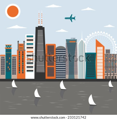 Modern city street. Vector - stock vector