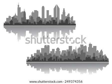 Modern cityscape vector designs with silhouettes of multiple high-rise buildings and skyscrapers with a reflection - stock vector