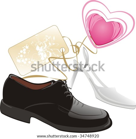 Modern classic shoes for wedding. Vector - stock vector
