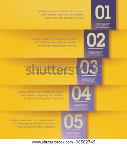 Modern, clean, Design template - fully editable / can be used for infographics / numbered banners / horizontal yellow cutout lines / graphic or website layout vector - stock vector
