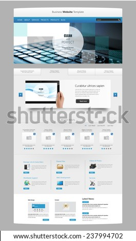 Modern Clean One page website design template. All in one set for website design that includes one page website template with Tablet in Hand realistic illustration.  - stock vector