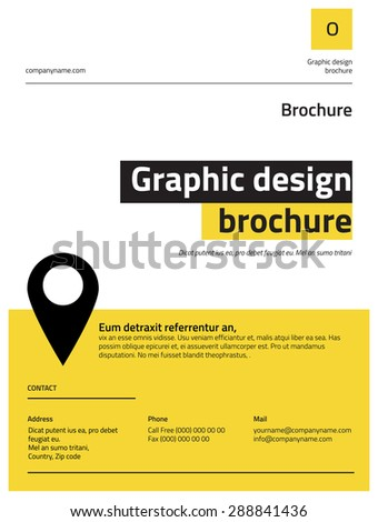 Modern clean style brochure design. Yellow, black and gray color combination. - stock vector