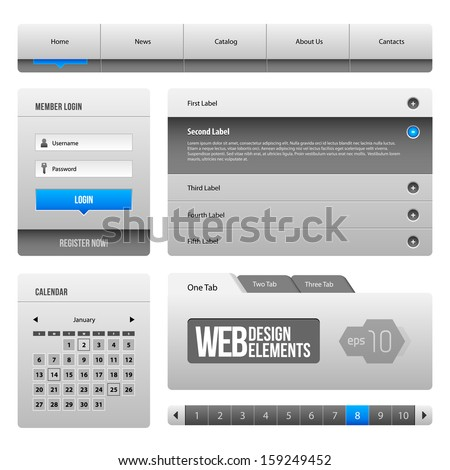 Modern Clean Website Design Elements Grey Blue Gray 3: Buttons, Form, Slider, Scroll, Carousel, Icons, Menu, Navigation Bar, Download, Pagination, Video, Player, Tab, Accordion, Search,  - stock vector