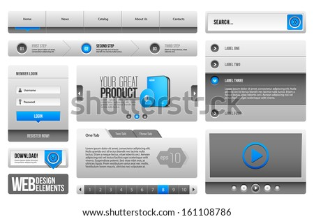 Modern Clean Website Design Elements Grey Blue Gray 3: Buttons, Form, Slider, Scroll, Carousel, Icons, Menu, Navigation Bar, Download, Pagination, Video, Player, Tab, Accordion, Search  - stock vector