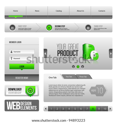 Modern Clean Website Design Elements Grey Green Gray: Buttons, Form, Slider, Scroll, Carousel, Icons, Tab, Menu, Navigation Bar, Download, Pagination - stock vector