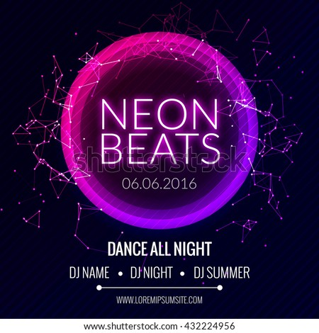 Modern Club Music Neon Beats Party Template, Dance Party Flyer, brochure. Night Party Club Banner Poster - stock vector