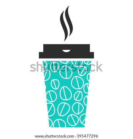 Modern coffee disposable paper cup sign with steam. Vector illustration. - stock vector