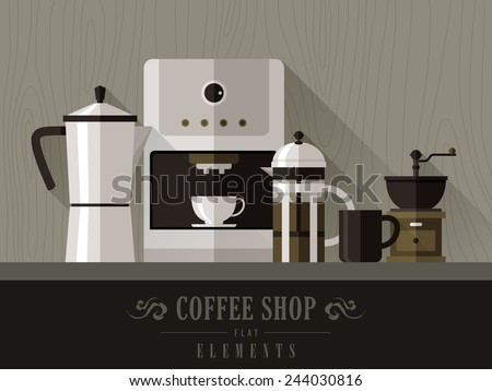 modern coffee machine set in flat design style - stock vector