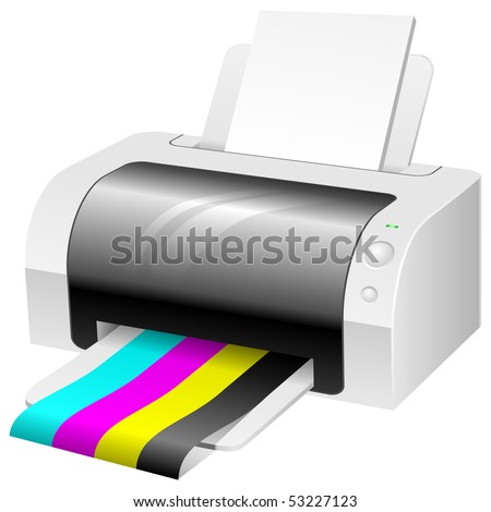 Modern color printer with CMYK colored paper. - stock vector