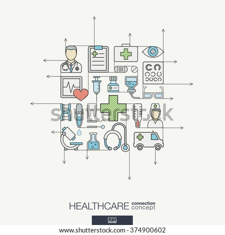Modern color vector concept, with connected flat design icons. Abstract illustration for medical, health, care, medicine, network and global concepts. - stock vector