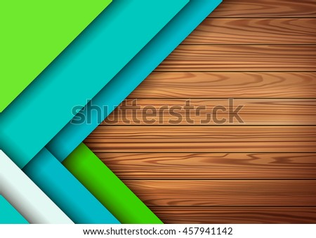 Modern colored material design elements in combination with realistic wooden surface background . Modern vector graphic design template A4 format . Applicable for design . - stock vector