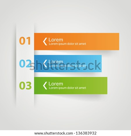 Modern colorful arrow origami style number options banner infographics. Vector - stock vector