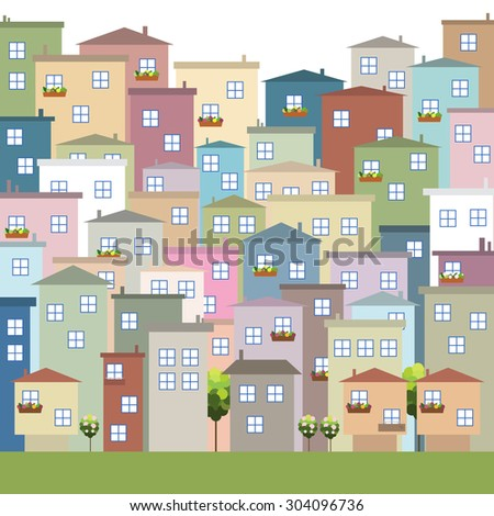 Modern Colorful City, Real Estate - stock vector