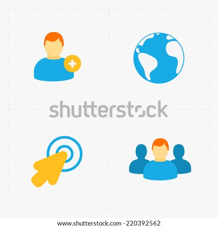 Modern colorful flat social icons set on White - stock vector