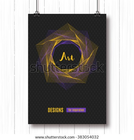 Modern colorful geometric polygonal posters A4. Pentagon line art design. Vector geometric polygonal elements. Abstract background, geometric shapes 3d, typography logo. Futuristic technology concept - stock vector