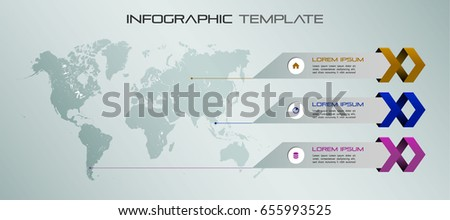 modern colorful infographics options template vector with world map and ribbon can be used for