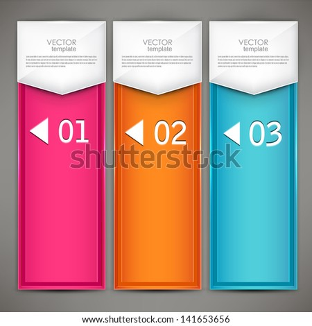 Modern colorful numbered banners. Vector illustration.