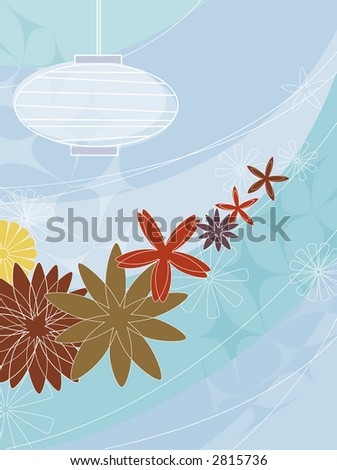 Modern, colorful stylized outdoor paper lantern and flowers. - stock vector