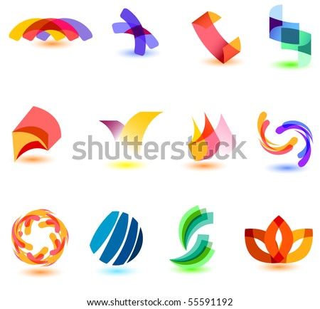 Modern colorful symbols for your design (part 8). Please visit my gallery to see similar. - stock vector