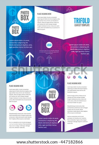 Modern Colorful Trifold Leaflet Design Template with Arrows