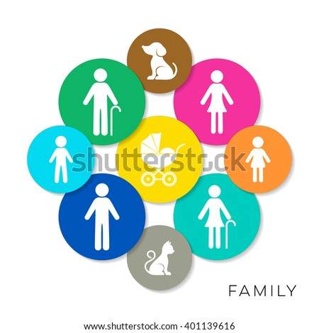 Modern colorful vector family infographic icons collection - stock vector