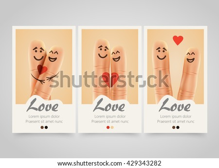Modern colorful vertical love motive banners. Pair of happy fingers smiley in love. photo session flyer or wedding invitations set. Backgrounds with selfie fingers. Vector illustration - stock vector