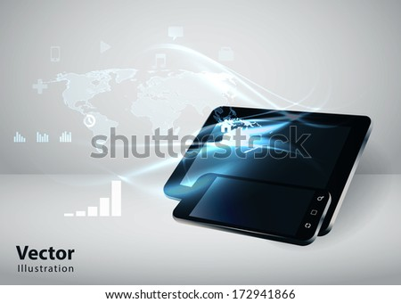 Modern communication technology illustration with mobile phone, tablet and high tech background  - stock vector