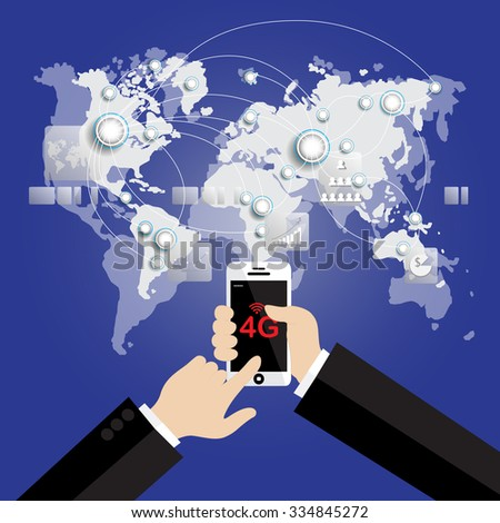 Modern communication technology mobile phone high tech, wide web connection concept. Hand holding white smartphone connected browsing internet worldwide world map background. 4g data plan provider